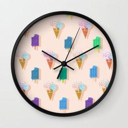 Yammie Ice cream pattern soft pink Wall Clock