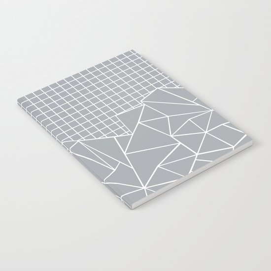 Abstract Outline Grid Grey Notebook