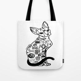 Sphynx Cat. Halloween cat. Hairless Cat. Tattooed Cat. Tote Bag