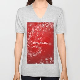 Modern stylish red white Christmas typography Unisex V-Neck