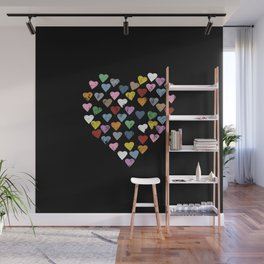 Distressed Hearts Heart Black Wall Mural