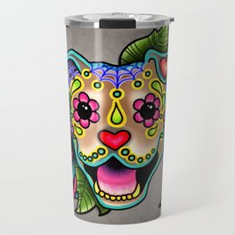 Smiling Pit Bull in Fawn - Day of the Dead Pitbull Sugar Skull Travel Mug