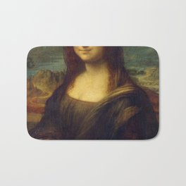 Hipster Mona Lisa in her Hipster Shades Bath Mat