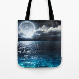 Full Moon over Ocean Tote Bag