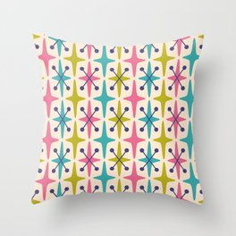 Mid Century Modern Abstract Star Pattern 942 Pink Chartreuse Turquoise and Blue Throw Pillow