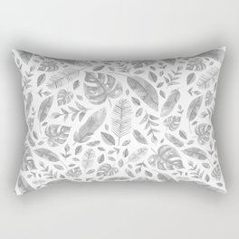 Tropical Leaves in Black and White Rectangular Pillow