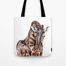 Giraffe with Baby Giraffe Tote Bag