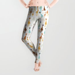 Giraffe of a different Color: white background Leggings