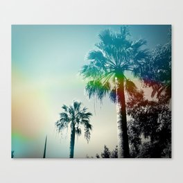 Palm trees of Barcelona Canvas Print