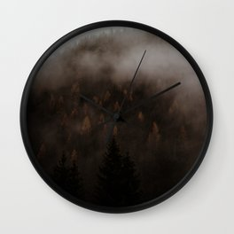 Misty Autumn Larches Wall Clock