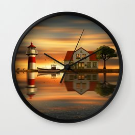 The idyll at the house of the lighthouse keeper Wall Clock