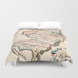 Vintage Map of New Jersey (1819) Duvet Cover