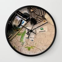 vintage map Wall Clocks featuring Map by Carmen Moreno Photography