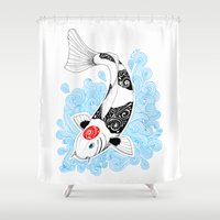 koi fish Shower Curtains featuring Koi fish  by Art & Be