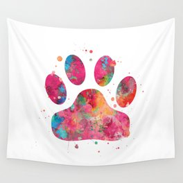 Colorful Paw Wall Tapestry