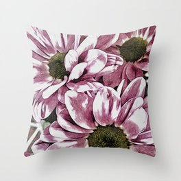 Pink Daisies in Watercolour Throw Pillow
