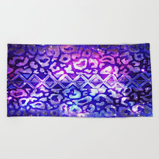 TRIBAL LEOPARD GALAXY Animal Print Aztec Native Pattern Geometric Purple Blue Ombre Space Galactic Beach Towel