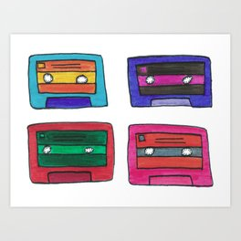 Pop Art Cassette Tapes Art Print