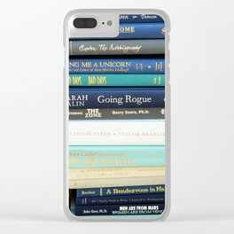 Bookworm in Blue Clear iPhone Case