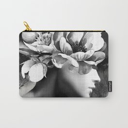 Floral Portrait-black and white Carry-All Pouch