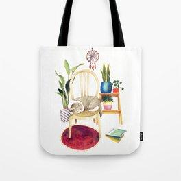 Cat Cozy Room Tote Bag