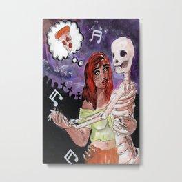 skull and girl dancing Metal Print