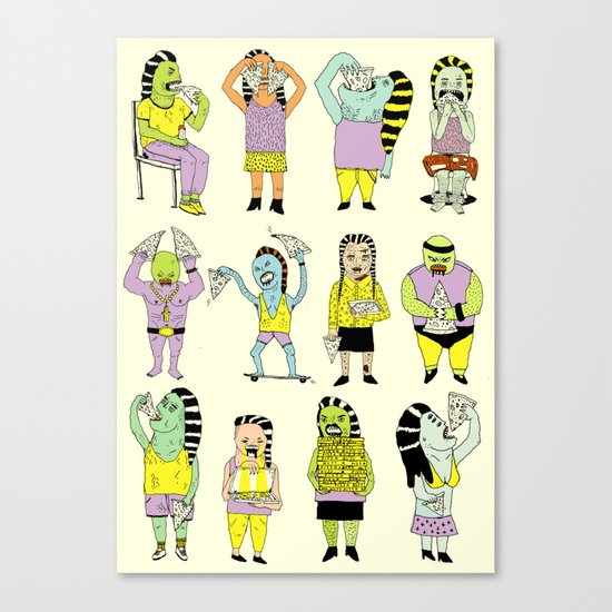 KIDS AND PIZZA Canvas Print