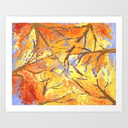 A Fire in the Trees Art Print