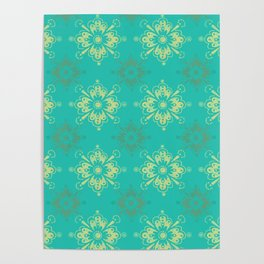 Ornamental Geometric in Turquoise and Gold Metallic Look Poster