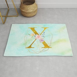 Gold Foil Alphabet Letter X Initials Monogram Frame with a Gold Geometric Wreath Rug