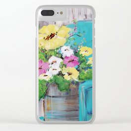 Spring Floral on Vintage Lawn Chair Clear iPhone Case