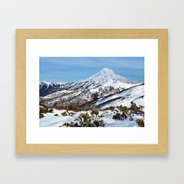 Beautiful winter mountainous landscape: snowcapped cone of volcano Framed Art Print