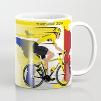 tour de france Mugs featuring Grand Depart Yorkshire Tour De France  by Wyatt Design