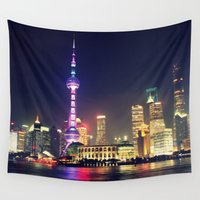 china Wall Tapestries featuring Shanghai, China  by Limitless Design