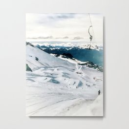 Snowy life on slope under T-bar lifts Metal Print