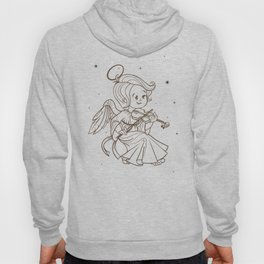 Nicely and happy smiling cute baby Christmas angel making music playing violin. Ink on old paper Hoody