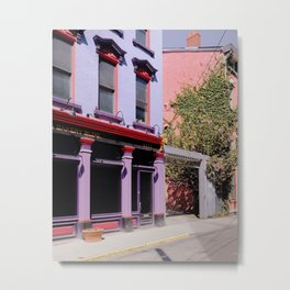 Colorful Facades and Pink Blossom Metal Print