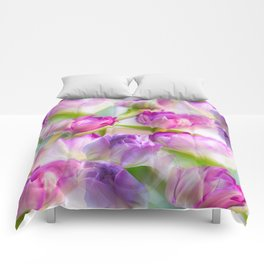 Multicolor Tulip Bouquet Spring Mood #decor #society6 #buyart Comforters