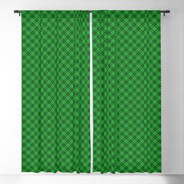 Christmas Holly Green and Argyle Tartan Plaid with Crossed White and Red Lines Blackout Curtain
