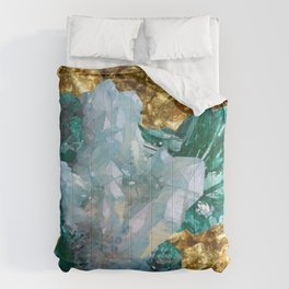 WHITE QUARTZ &  AQUAMARINE CRYSTALS  ON GOLD Comforters
