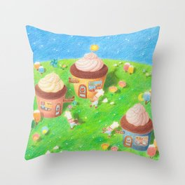 Cupcake village Throw Pillow