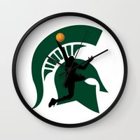 michigan Wall Clocks featuring Michigan Basketball by Anthony M. Davis