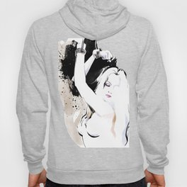 Beauty portrait, Woman slave handcuffs, Nude art, Black and white, Fashion painting Hoody