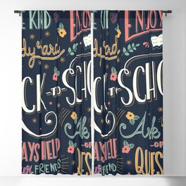 Back to school colorful typography drawing on blackboard with motivational messages, hand lettering Blackout Curtain