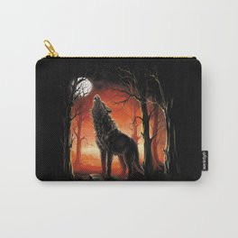 Howling Wolf at Sunset Carry-All Pouch
