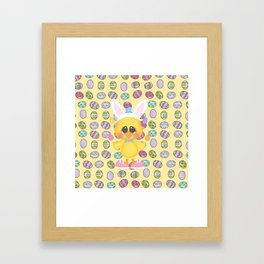 Easter Chick with Bunny Ears Framed Art Print