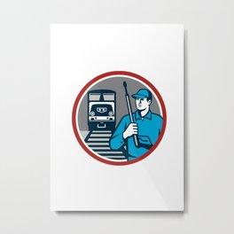 Pressure Washer Train Rail Circle Retro Metal Print