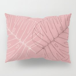 Monstera Palm Leaves in Line work | sketch in white and pink colors Pillow Sham