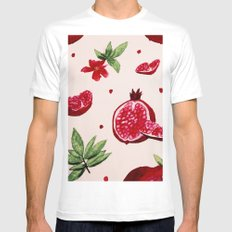 Watercolor Pomegranates Mens Fitted Tee White MEDIUM