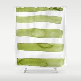 Green Stripe Abstract Art Shower Curtain